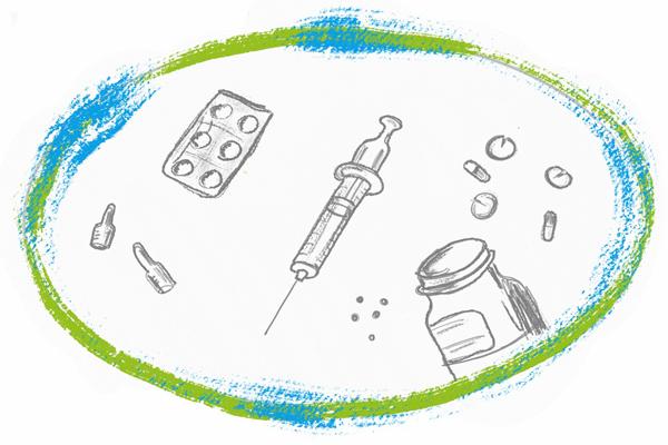 Sucht-Darstellung Suchtmittel Tabletten Spritzen Medikamente